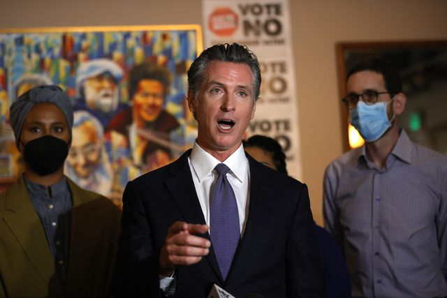 """san francisco, california   august 13 california gov gavin newsom speaks during a news conference at manny's on august 13, 2021 in san francisco, california california gov gavin newsom kicked off his """"say no"""" to recall campaign as he prepares to face a recall election on september 14 photo by justin sullivangetty images"""