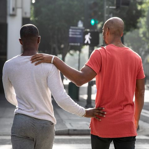 Gay men couple spending time together in Los Angeles