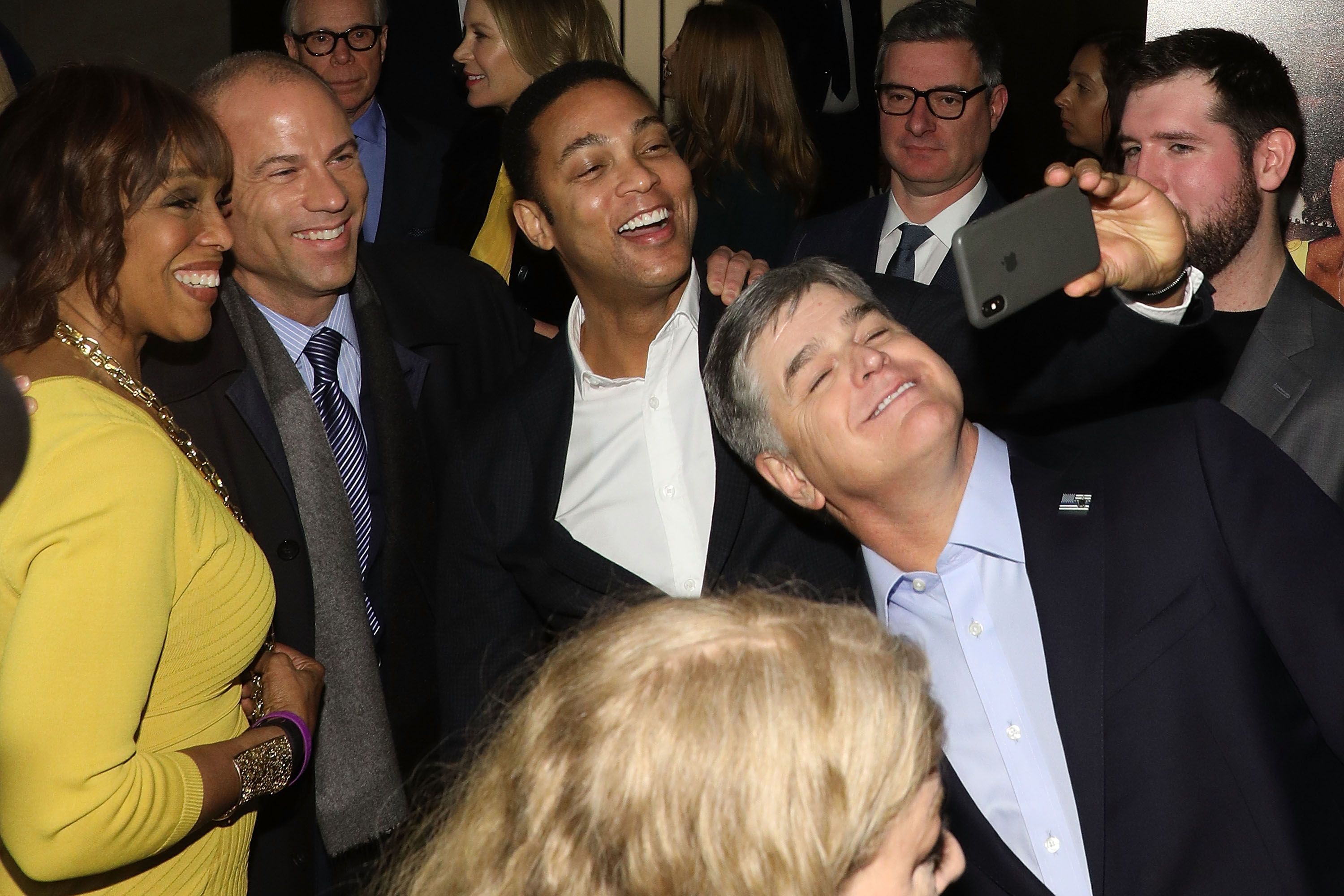Gayle King, Michael Avenatti, CNN's Don Lemon, and Fox News' Sean Hannity attend the 2018 The Hollywood Reporter's 35 Most Powerful People In Media at The Pool on April 12, 2018.