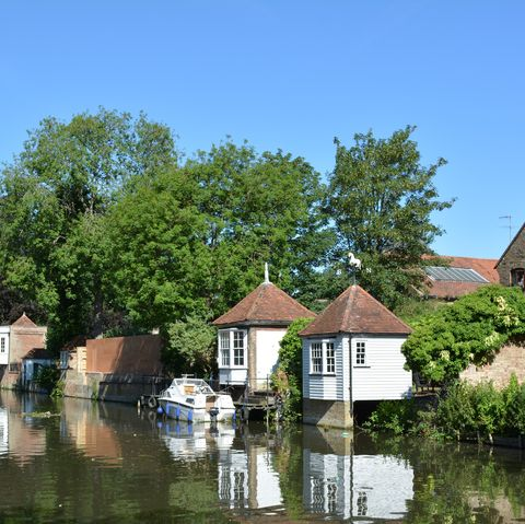 Gazebos on the River Lea in Ware, Hertfordshire