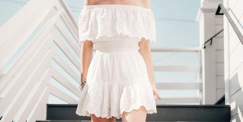 White, Shoulder, Photograph, Clothing, Fashion model, Fashion, Dress, Beauty, Blond, Joint,
