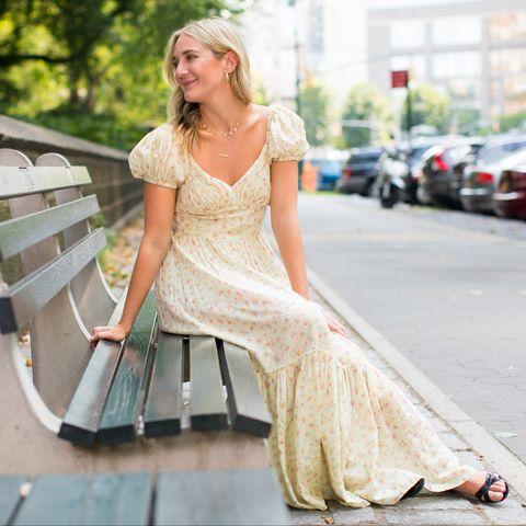 Photograph, White, Dress, Clothing, Street fashion, Wedding dress, Gown, Beauty, Yellow, Fashion,