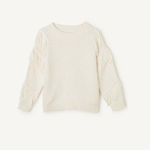 fijngebreide trui met franjes