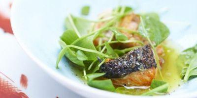 Gegrilde zalm spinazie