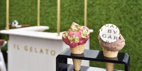 Gelato, Ice cream, Frozen dessert, Pink, Dairy, Table, Dessert, Room, Food, Plant,