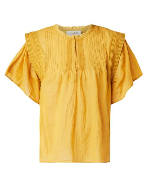 Clothing, Yellow, Sleeve, Orange, T-shirt, Blouse, Neck, Top,