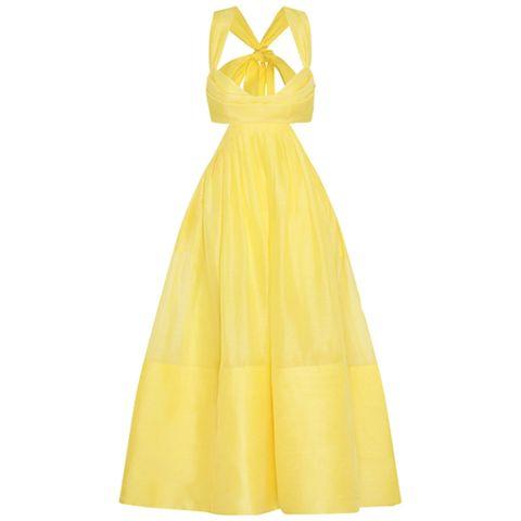gele midi jurk met open rug van zimmermann via farfetch