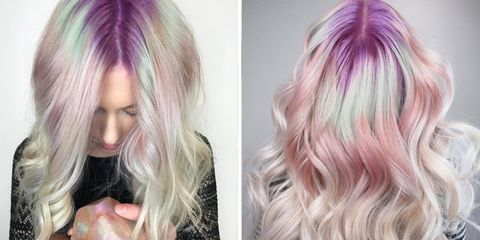 Hair, Blond, Hair coloring, Hairstyle, Pink, Purple, Chin, Wig, Violet, Layered hair,