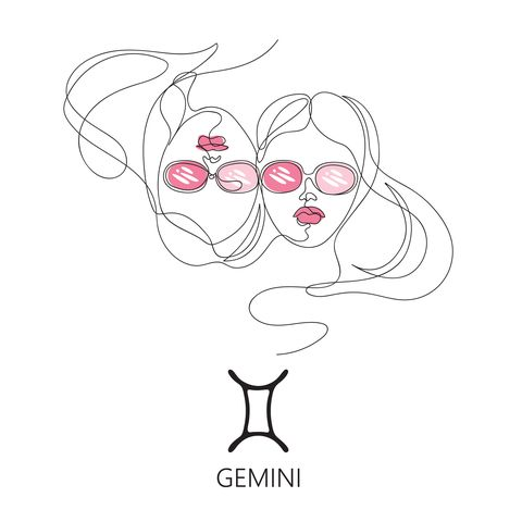gemini zodiac constellation one line vector illustration in the style of minimalism