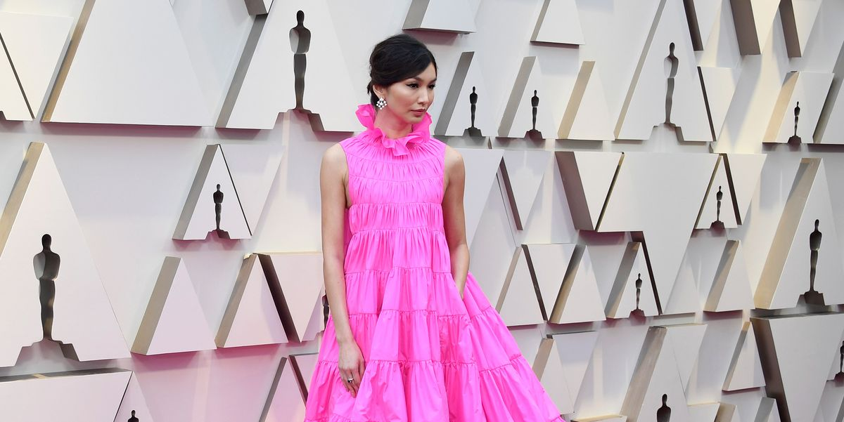 1828c5b8e00 Gemma Chan s parachute pink dress is an Oscars red carpet triumph