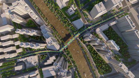 都市中有一座彩色空中環行天橋