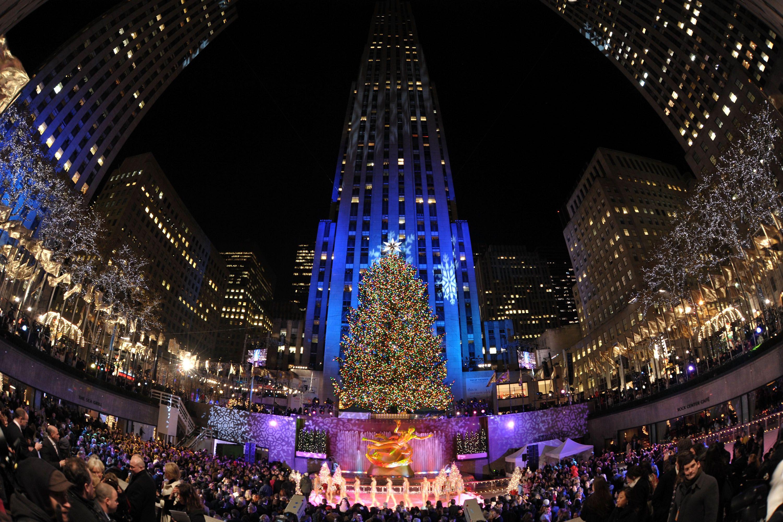 2008 jõulud Rockefelleri keskuse puu süütamise tseremoonial