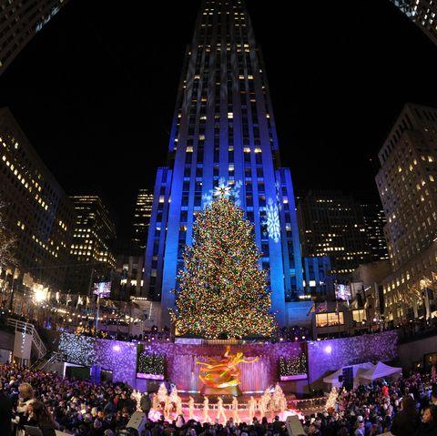Natal de 2008 na cerimônia de iluminação da árvore do Rockefeller Center