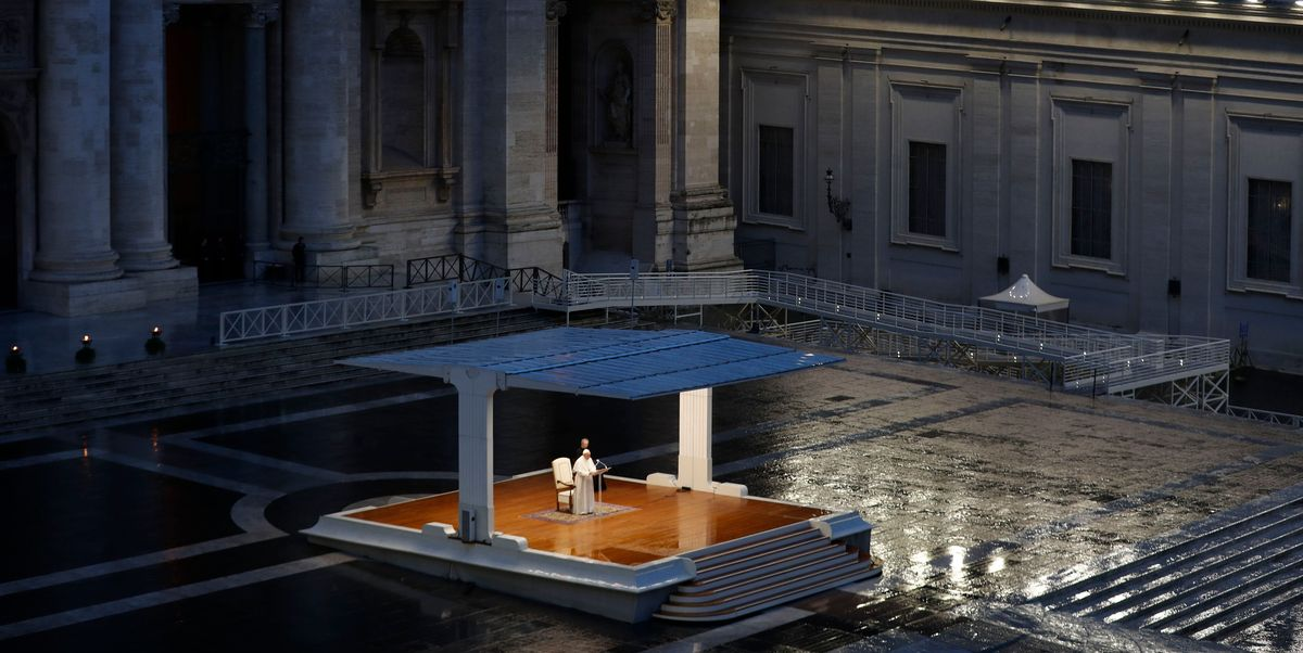 This Powerful Photo Shows Pope Francis Praying Alone In St. Peter's Square