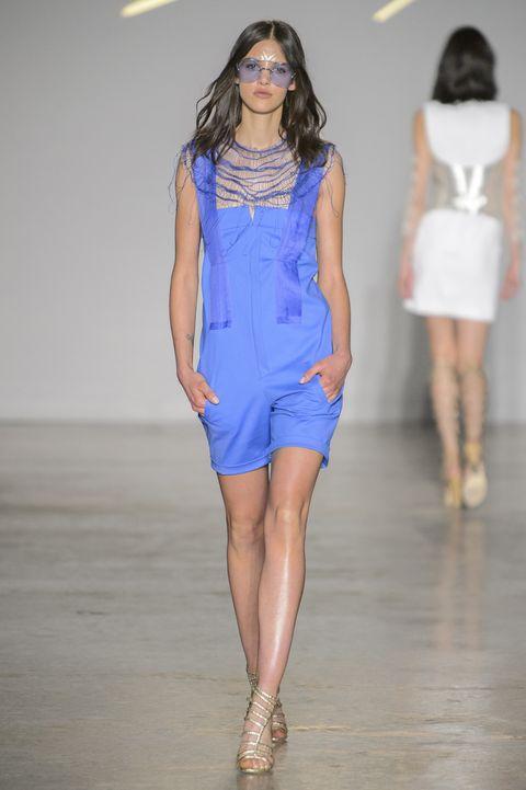 Fashion model, Fashion show, Fashion, Runway, Clothing, Blue, Shoulder, Fashion design, Dress, Cobalt blue,