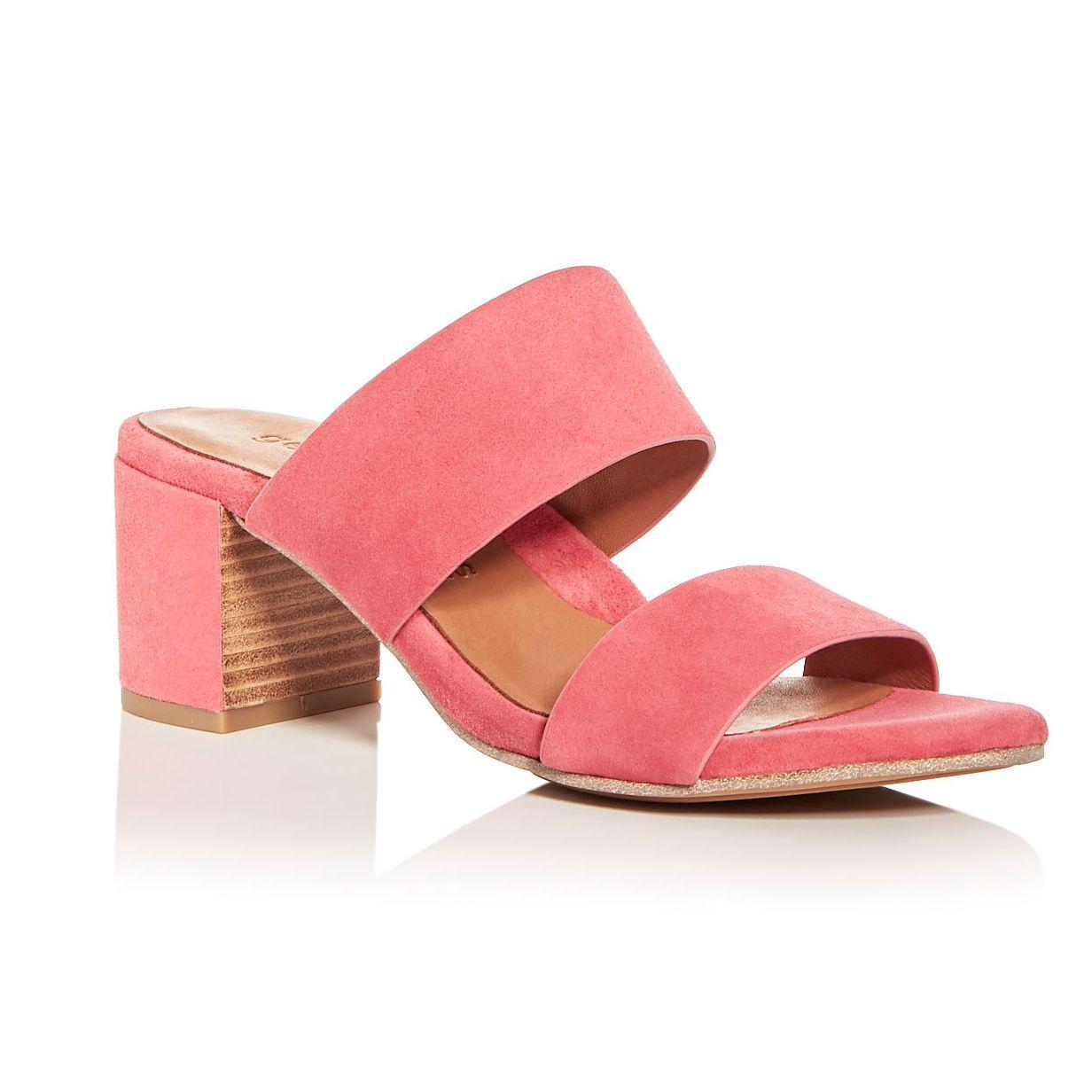 Gentle Souls Cherie Suede Block Heel Slide Sandals