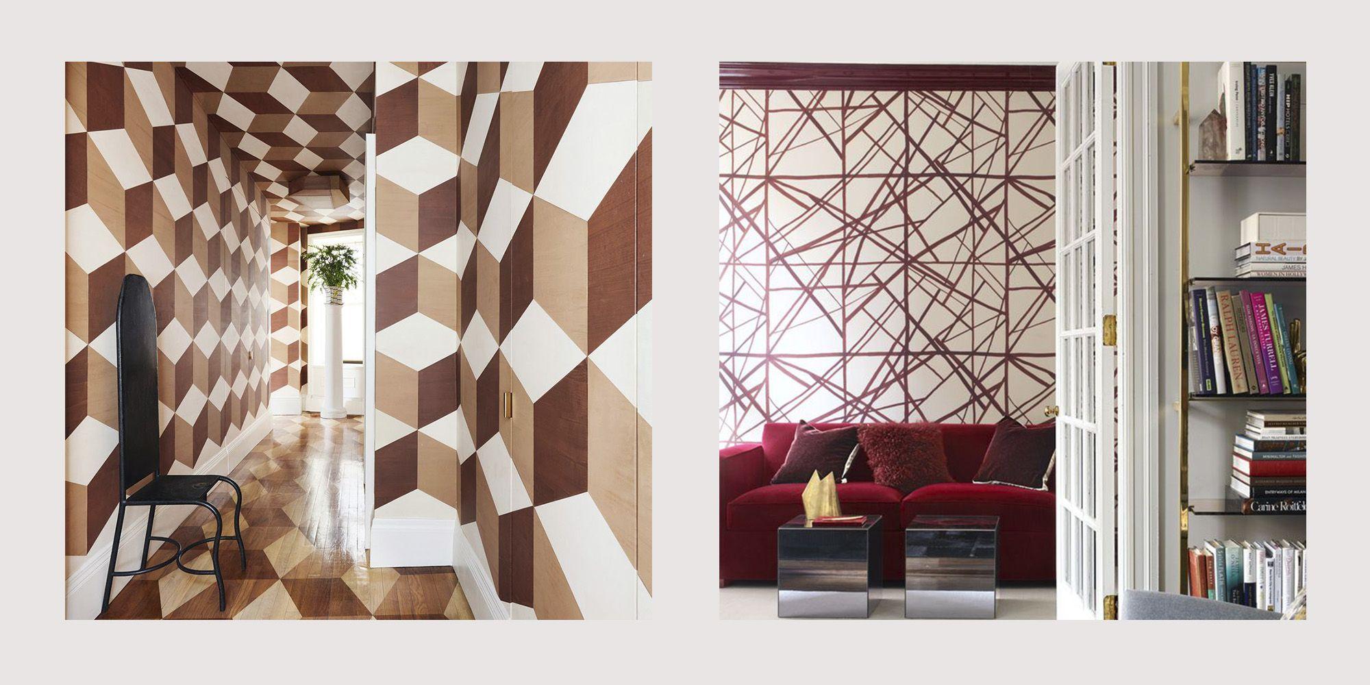 10 Geometric Wall Ideas Best Geometric Paint Wallpaper Designs