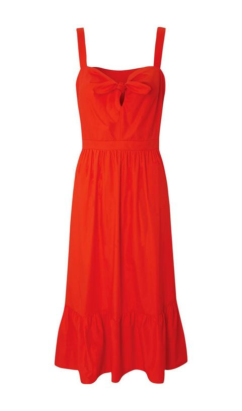 Clothing, Day dress, Dress, Red, Cocktail dress, Orange, One-piece garment, Neck, A-line, Nightgown,