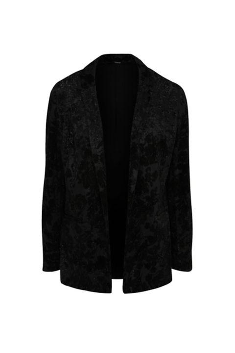 Black Velour Floral Shimmering Burnout Blazer