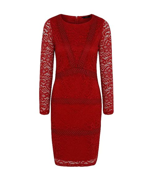 Red Long Sleeve Fitted Lace Dress