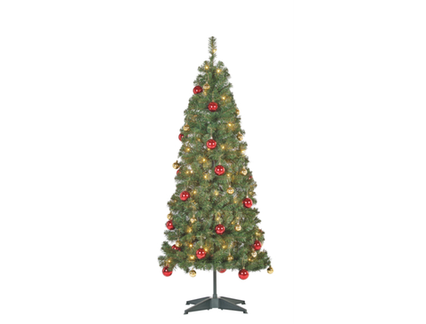 5ft pop up pre lit led christmas tree red and gold baubles - Pop Up Decorated Christmas Tree