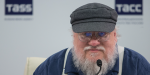 George R. R. Martin attends a press conference on August 16, 2017
