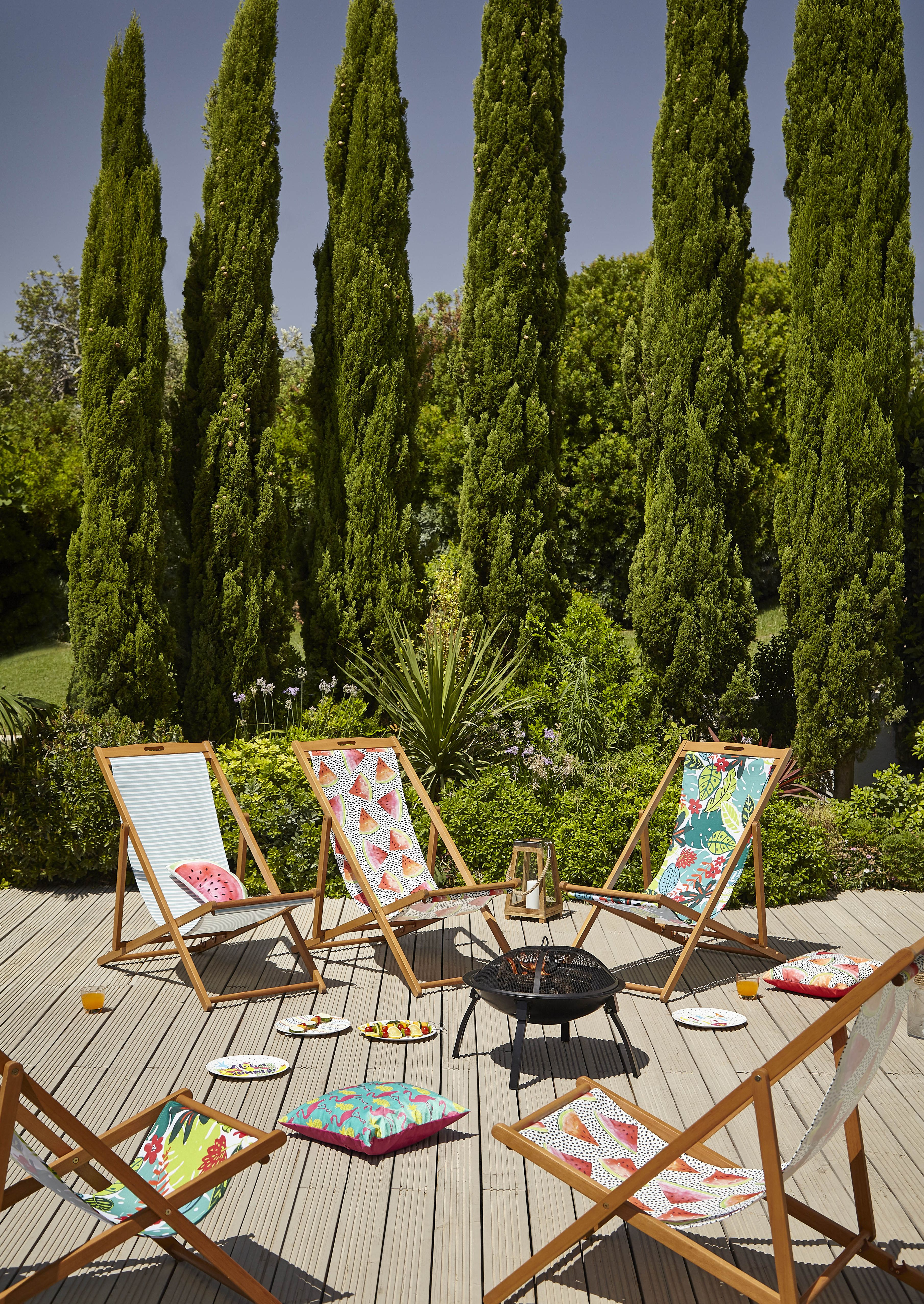 George Home patterned deck chairs