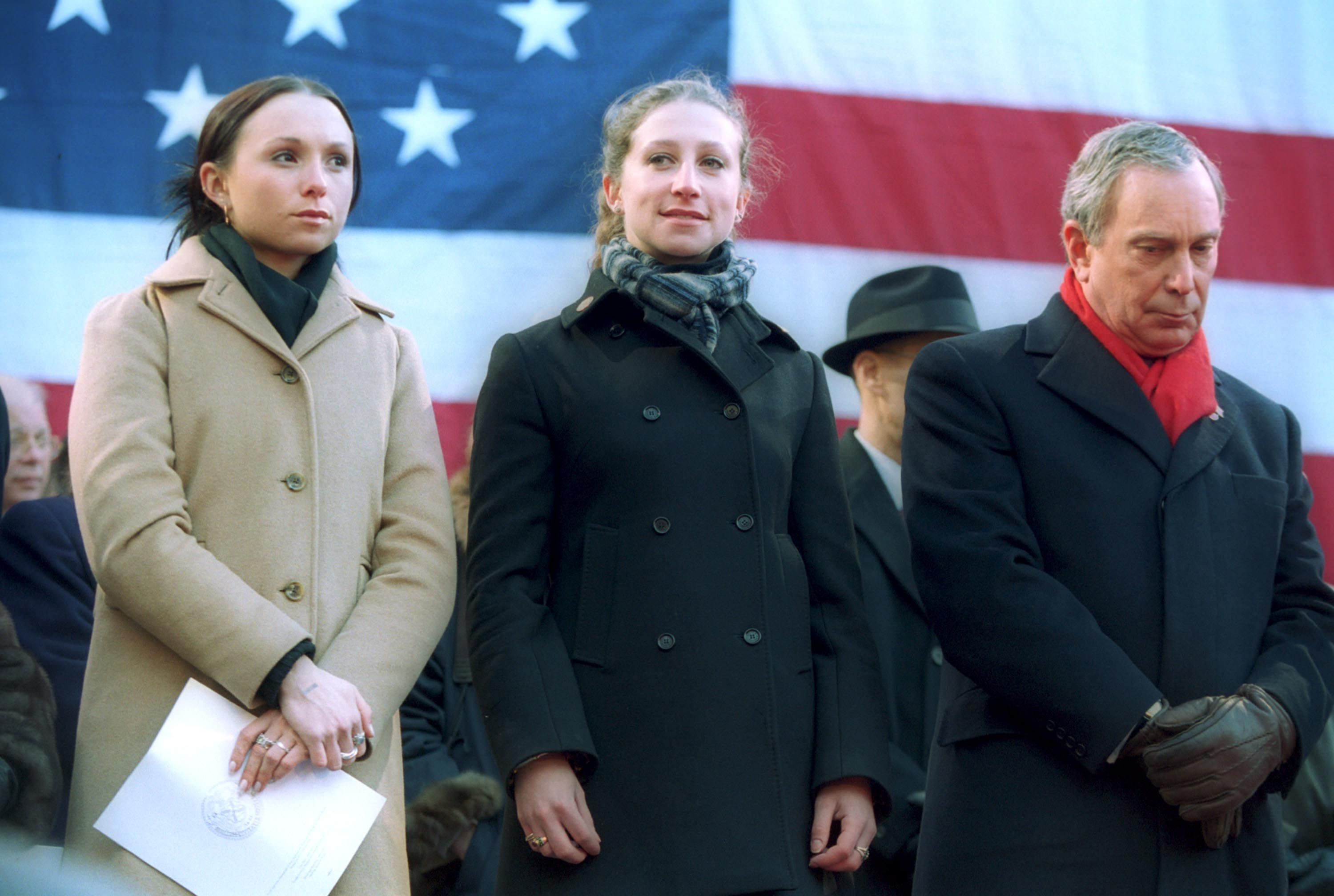 Georgina and Emma Bloomberg with their father during his 2002 inauguration as mayor.