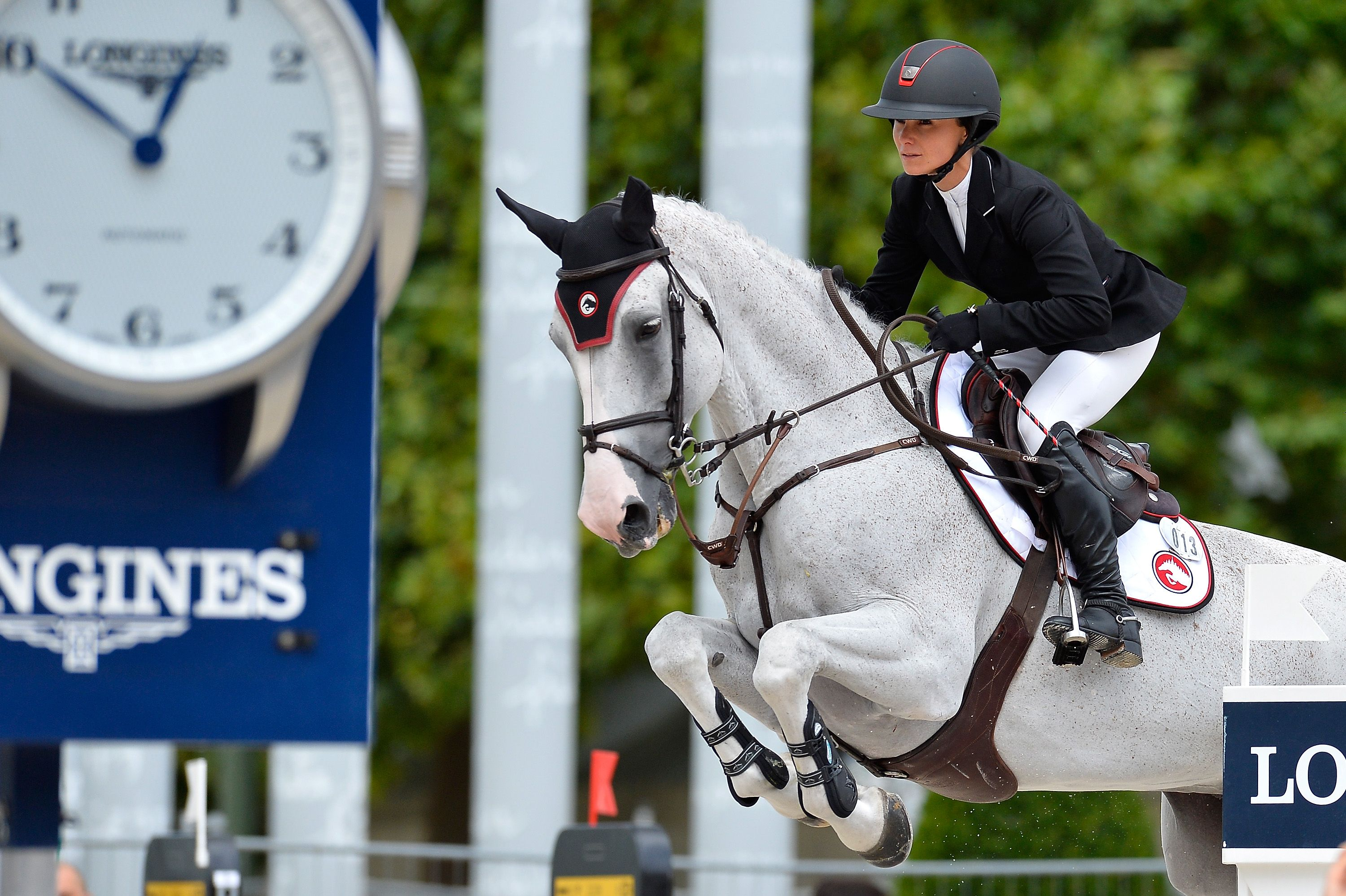 Georgina Bloomberg competes in the 4th Longines Paris Eiffel Jumping Competition in 2017.