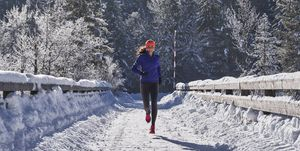 woman winter running