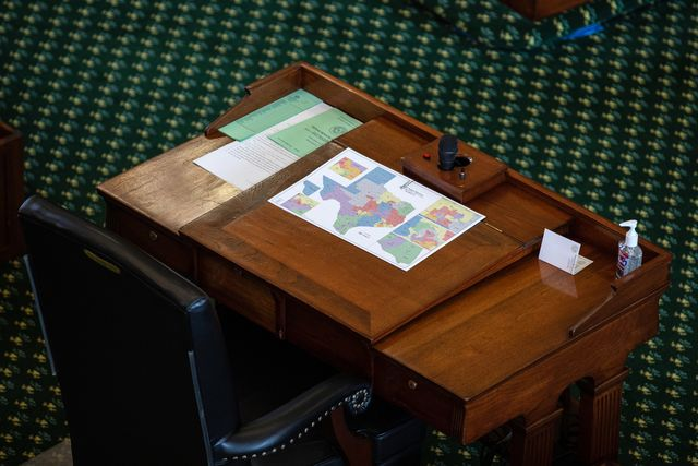 austin, tx   september 20 a map of state senate districts is seen on a desk in the senate chamber on the first day of the 87th legislature's third special session at the state capitol on september 20, 2021 in austin, texas following a second special session that saw the passage of controversial voting and abortion laws, texas lawmakers have convened at the capitol for a third special session to address more of republican gov greg abbott's conservative priorities which include redistricting, the distribution of federal covid 19 relief funds, vaccine mandates and restrictions on how transgender student athletes can compete in sports photo by tamir kalifagetty images