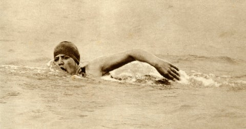 gertrude ederle, first woman to swim the channel, 1926, 1935 'miss gertrude ederle 1905 2003, the young american swimmer, was the first woman to swim the channel between england and france she also established a new record by swimming from france to england on august 6 1926 in 14 hours 31 minutes, thus beating the previous record by about two hours' from quotthe silver jubilee book   the story of 25 eventful years in picturesquot odhams press ltd, london, 1935