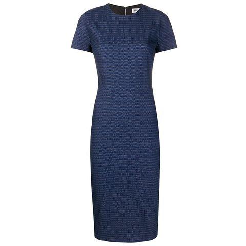 gestreepte midi jurk met korte mouwen in donkerblauw van victoria beckham via farfetch