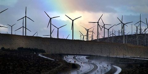 Wind turbine, Wind farm, Windmill, Wind, Sky, Water, Public utility, Atmosphere, Electricity, Machine,