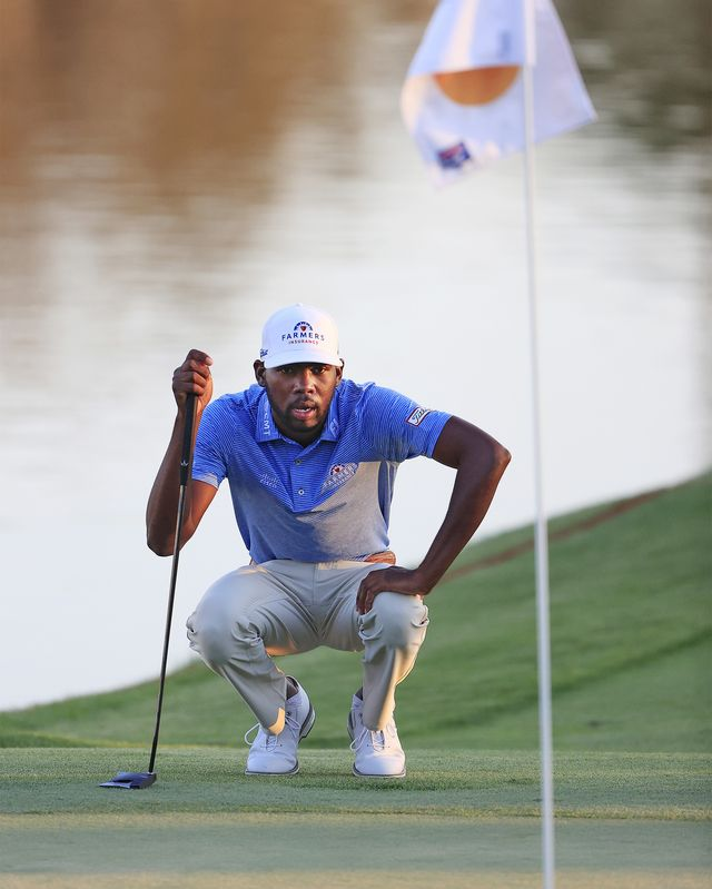 orlando, florida   march 04 kamaiu johnson of the united states lines up a putt during the first round of the arnold palmer invitational presented by mastercard at the bay hill club and lodge on march 04, 2021 in orlando, florida photo by sam greenwoodgetty images