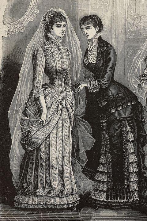 Women wearing Moire wedding dress
