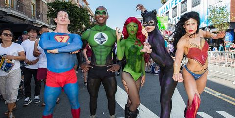 Costume, Clothing, Cosplay, Superhero, Fictional character, Fiction, Justice league, Fan convention, Event, Comics,