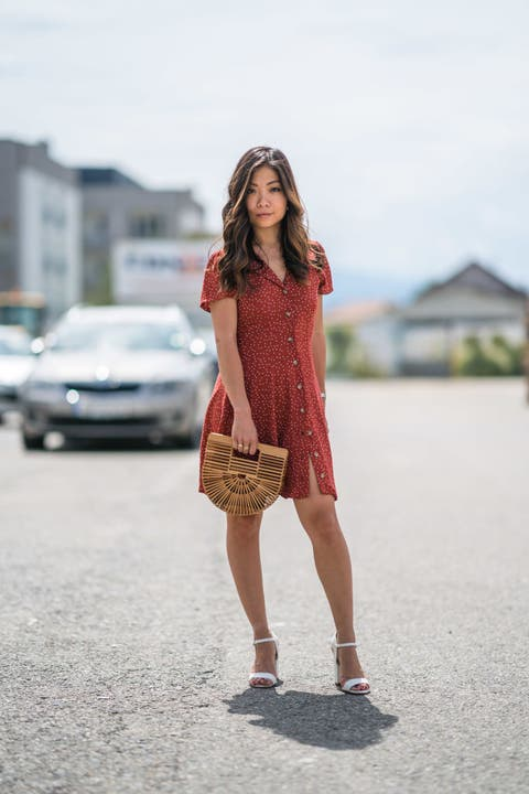 Clothing, White, Street fashion, Red, Shoulder, Fashion, Dress, Beauty, Pink, Brown,