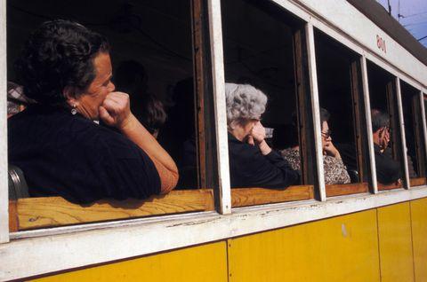 Yellow, Human, Window, Vehicle,