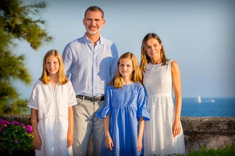 7d4af80bb Queen Letizia of Spain masters summer chic in new family holiday portrait