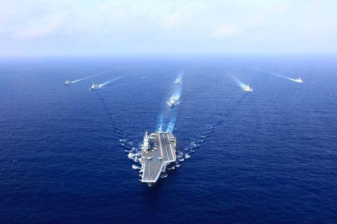 Vehicle, Watercraft, Naval ship, Ship, Aircraft carrier, Sea, Warship, Oil rig, Naval architecture, Amphibious assault ship,