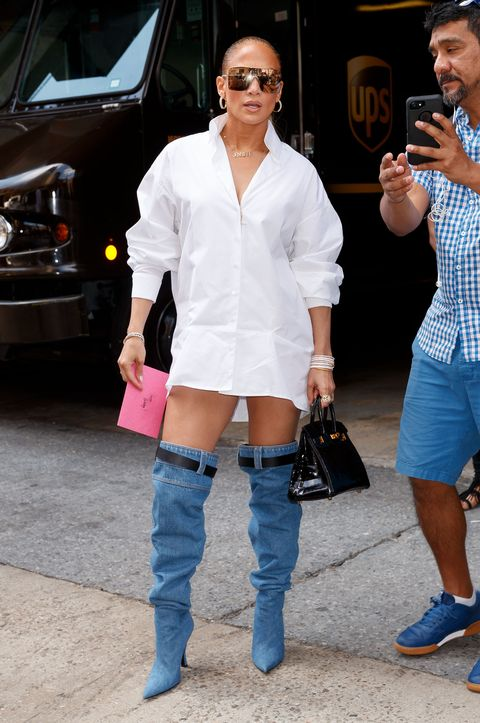 6d9956290e9 Jennifer Lopez Catfishes Us All With Versace Boots That Look Like Jeans