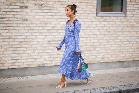 Clothing, Blue, Dress, Street fashion, Fashion, Turquoise, Shoulder, Electric blue, Footwear, Pattern,
