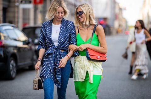 Street fashion, People, Fashion, Green, Yellow, Snapshot, Jeans, Street, Fun, Human,