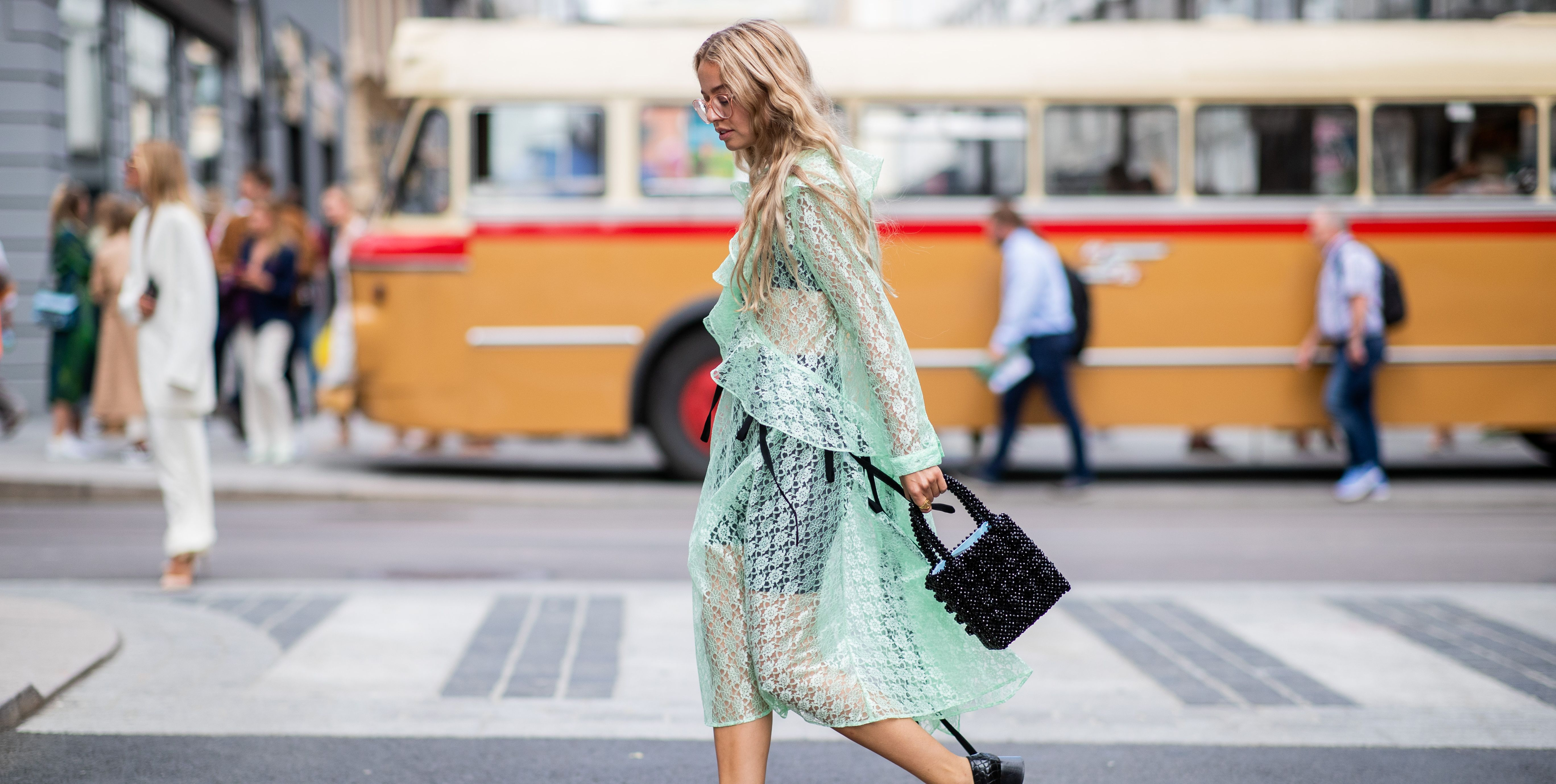 Sheer dress beaded bag summer street style