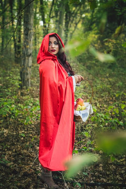Little red riding hood in a forest
