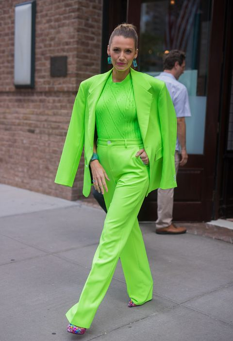 Green, Clothing, Fashion, Yellow, Street fashion, Outerwear, Pantsuit, Costume, Suit, Fashion design,