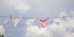 Women's underwear hanging on washing line