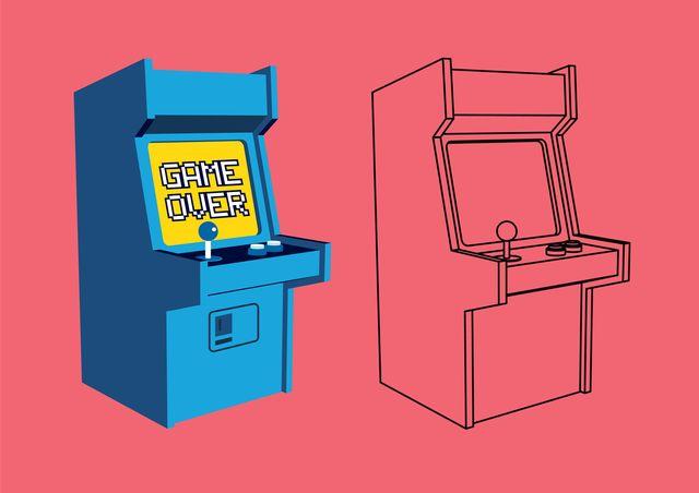 vector retro arcade game  machine with outline