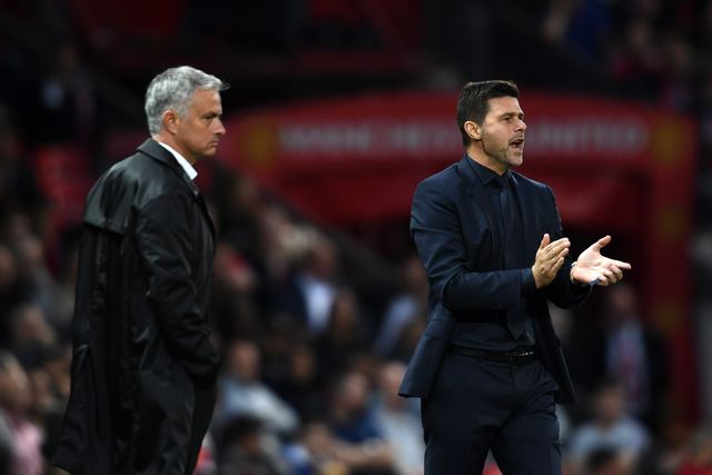 manchester, england   august 27  mauricio pochettino, manager of tottenham hotspur reacts during the premier league match between manchester united and tottenham hotspur at old trafford on august 27, 2018 in manchester, united kingdom  photo by clive masongetty images